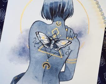 Moth tattoo - gold embellished print