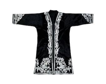 beautiful Uzbek traditional Bukhara outwear costume kaftan caftan robe jacket coat unisex silk embroidered horses b646