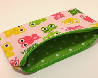 Frog Print Novelty Zipper Pouch - makeup bag; pencil case; gift for her; cosmetic bag; carry all; gadget case; birthday; bridesmaids