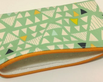 Triangles Novelty Zipper Pouch - makeup bag; pencil case; gift for her; cosmetic bag; carry all; gadget case; birthday; bridesmaids