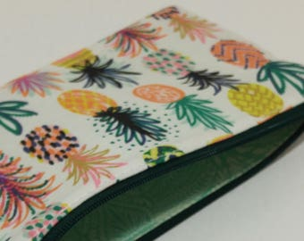 Pineapple Party on White Novelty Zipper Pouch - makeup bag; pencil case; gift for her; cosmetic bag; carry all; gadget case;