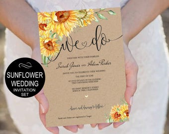 Sunflower Wedding Invitation Template Printable - Wedding Invite Download -DIY Printable Invitations-PDF-Download Instantly | VRD151KWY
