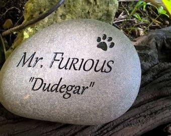 "6"" CUSTOM ENGRAVED STONE Pet Memorial stone"