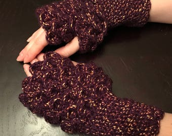 Purple and Gold Dragon Scale Fingerless Gloves