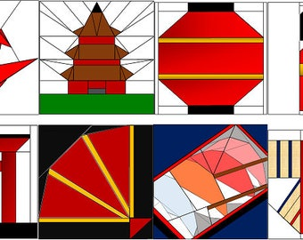 Asian Japanese paper pieced quilt block set of 8 PDF patterns