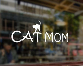 Cat Mom Vinyl Stickers Funny Decals Bumper Car Auto Computer Laptop Wall Window Glass Skateboard Snowboard Helmet