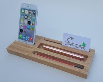 Bamboo Desk Tidy, Wooden Desk Organiser, Office Gift, Phone Stand, Father's Day Gift, Pen Holder, unique gift, Desk Accessories, Desk Tray