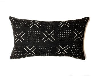 Mudcloth Pillow Cover, African Mud Cloth,  Black and White | Lumbar | 'Lulu'