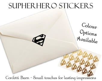 Superhero Stickers - Kids Party - Removable Vinyl - Party Invitations - Envelope Sealing Stickers - Planner Stickers #91
