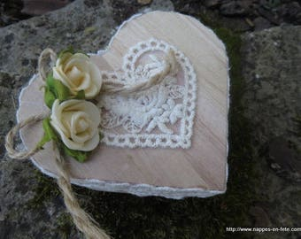 heart ring bearer wood trimmed with lace