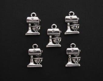 Kitchen Food Mixer Charm, Antique Silver, 1.6cm X 1cm, Set of 5