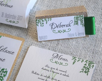 MARK up for wedding colors green and gold glitter
