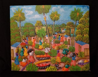 Original Haitian Oil Painting by Artist  Alaby