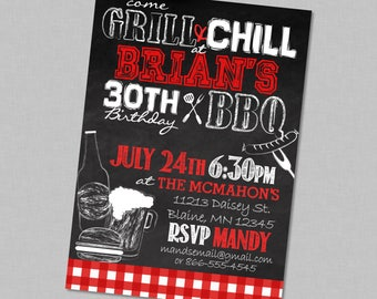 Adult Birthday BBQ Chill & Grill Party Invitation - Red Backyard Beer Barbecue Hotdogs Hamburgers - 30th 40th 50th 60th any age
