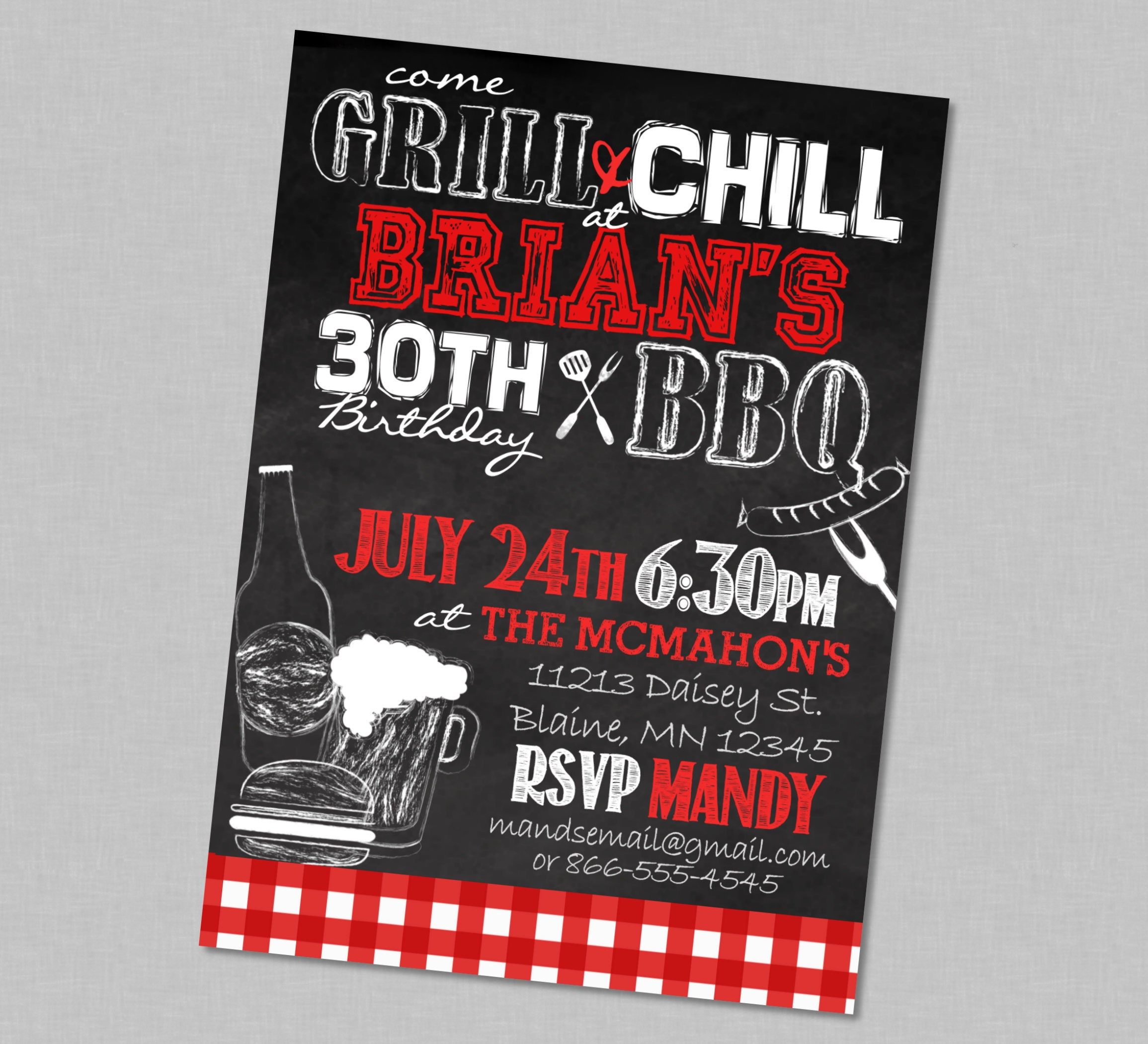Adult Birthday BBQ Chill & Grill Party Invitation Red