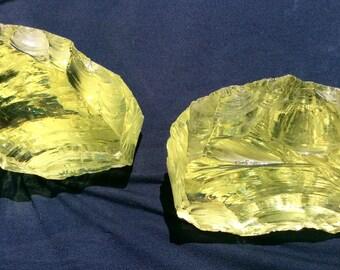 Stunning Green Slag Glass Rock Bookends