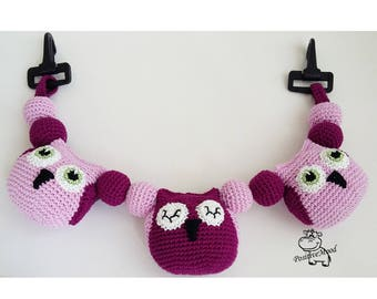 Knitted toy Owl / toy for baby stroller