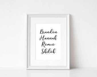 Personalised Family Print, Custom Print, Typography Print, Monochrome Print, Wall Art, Home Decor, Foiled Print