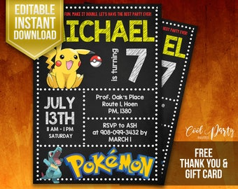 Pokemon Invitation, Pokemon Birthday Invitation, Pokemon instant download, Pokemon invite, Pokemon editable, Pokemon Printable, Pokemon