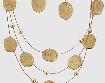 Gold Necklace with Earrings