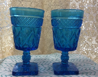 IMPERIAL GLASS ~ Cape Cod Blue (Antique) ~ Set of 2 Water Goblets ~ CIrca 1966-1969 ~ 11 oz. (#1)