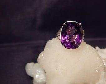 Custom 13 Ct. Cushion Rose Cut Amethyst Sterling Silver Ring