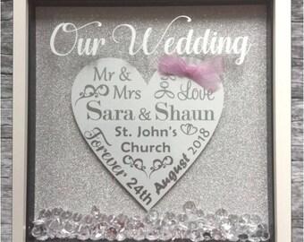 Personalised (ANY WORDING) Box Frame Wedding, Anniversary, Engagement, Christening