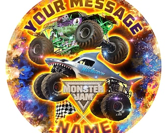 """Monster Jam Inspired Personalised Edible Icing Print Party Decoration Cake Topper 7.5"""""""