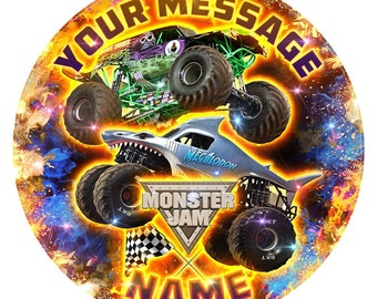 Monster Jam Inspired Personalised Edible Icing Print Party Decoration Cake Topper 7.5""