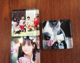 "Mr. Z Frames - Customized  Mosaic Crystal Glass Magnets - Set of 4 - Handmade (1.38"")"