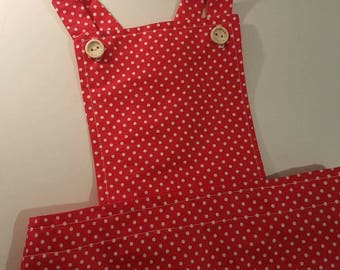 Red and white polka dot pinafore