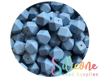 17mm Cornflower Hexagon Silicone Beads, Silicone Teething Beads, 100% Food Grade Silicone Beads, BPA Free, Silicone Loose Bead