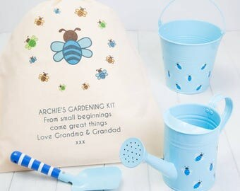 Personalised Blue Childrens Gardening Set And Gift Bag