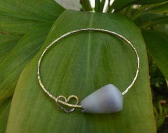 Shell Bangle- Gold filled with heart