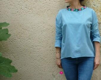 Blue blouse, neckline sleeves flowers long pastel blue natural vegetable dye