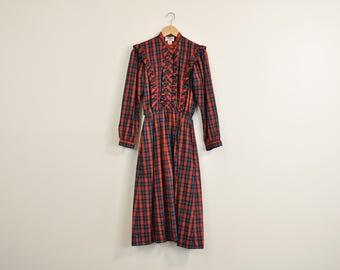 Plaid Prairie Dress, Vintage 1980s Dress, Romantic Ruffle Dress, Puff Sleeve Dress, 80s Midi Dress, Casual Fall Dress, Long Sleeve Dress