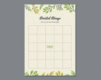 Green Bridal Shower Bingo Game Card, Trees, Botanical Bachelorette Bingo, Bridal Shower Games, Instant Download, Plants Wedding Bingo, A011