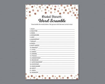 Rose Gold Bridal Shower Word Scramble Game Printable, Unscramble, Wedding Party Game, Bridal Shower Activity, Word Search, Find Words, A008