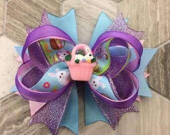Easter hair bow, YOU PICK CENTER resin, easter boutique bow, purple hair bow, girls hair bow, girls boutique bow, toddler hair bow, boutique