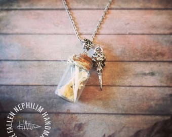 Sea Bird Bones Bottle Pendant with silver tone skull charm and 18 inch Chain, Real Genuine Wild Bones collected from the beach. Oddities
