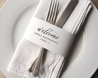 Napkin Wrap Place Card Template, Printable Wedding Place Cards, Napkin Ring Place Setting, Editable Wedding Place Cards Template - KPC04_208