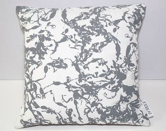 Cushion / Cushion Cover with Grey Seaweed Design - Hand Screen-printed onto 100% Cotton Duck - 45cm with Grey Cotton Duck Envelope Back