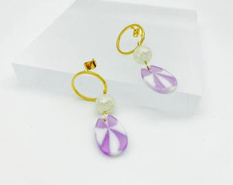 Purple candy beads circle earrings