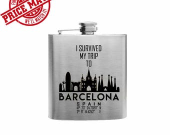I Survived My Trip To Barcelona // Her Gift  // Funny Flask // Hip Flask for Ladies // 21st Birthday Gift // 7 oz