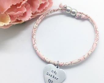 Personalised childrens 'Big Sister' Liberty bracelet | Gifts for girls | Gifts for sisters | Personalised gifts | Childs bracelet | Fabric