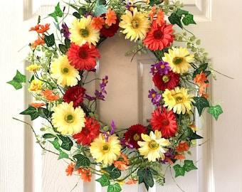 Wreath for front door, Summer wreath, Spring wreath, Floral wreath, Front door wreath, Flower wreath, Everyday wreath.