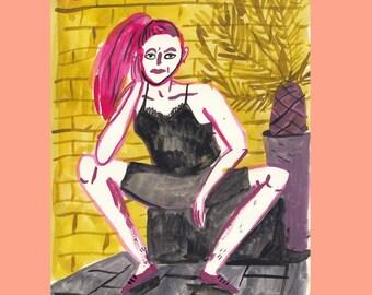 Girl with yellow brick wall
