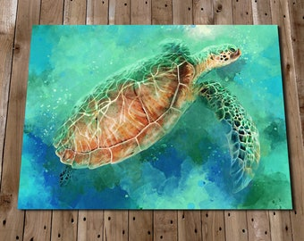 Turtle Print - Tropical Decor - Turtle Painting - Sea Life Prints - Ocean Animal Prints - Nautical Print - Sea Turtle Wall Art Print