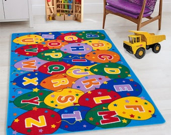 Handcraft Rugs-Kids Educational/Playtime Rugs Alphabet Balloons Puzzle  Multi Color