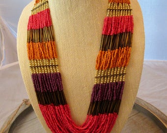 Tribal Vive Jewelry, Seed Beads Bib Necklace, Multicolor Strands Necklace, Boho Chic Necklace
